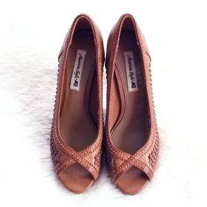 American Eagle Faux Leather Open Toe Brown Heels